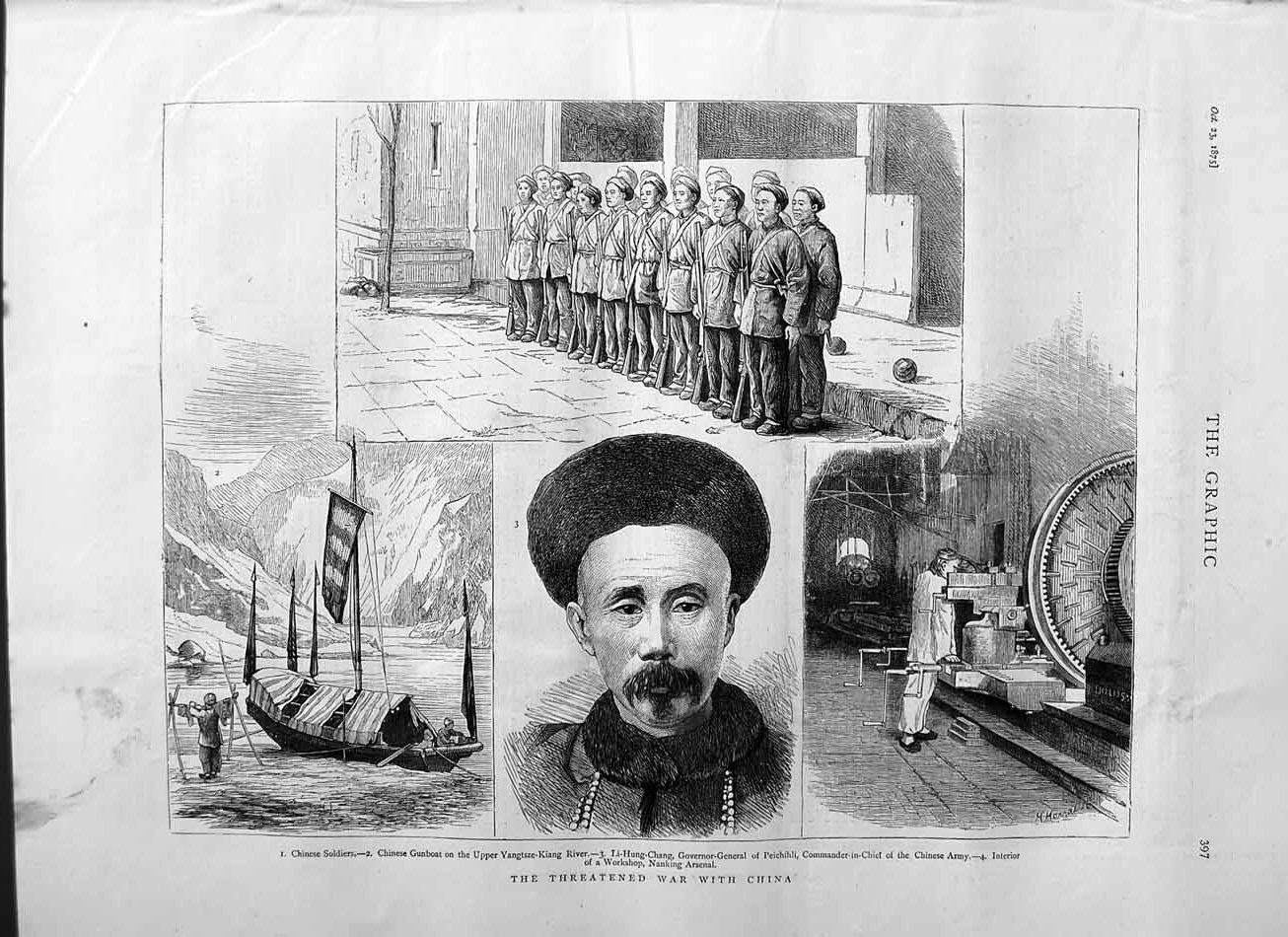 [Print 1875 Chinese Soldiers Gunboat Li-Hung-Chang Nanking War  Old Original]