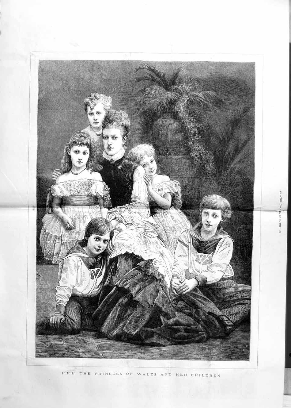 [Print 1875 Portrait H.R.H Princess Wales Children 399Tm112 Old Original]