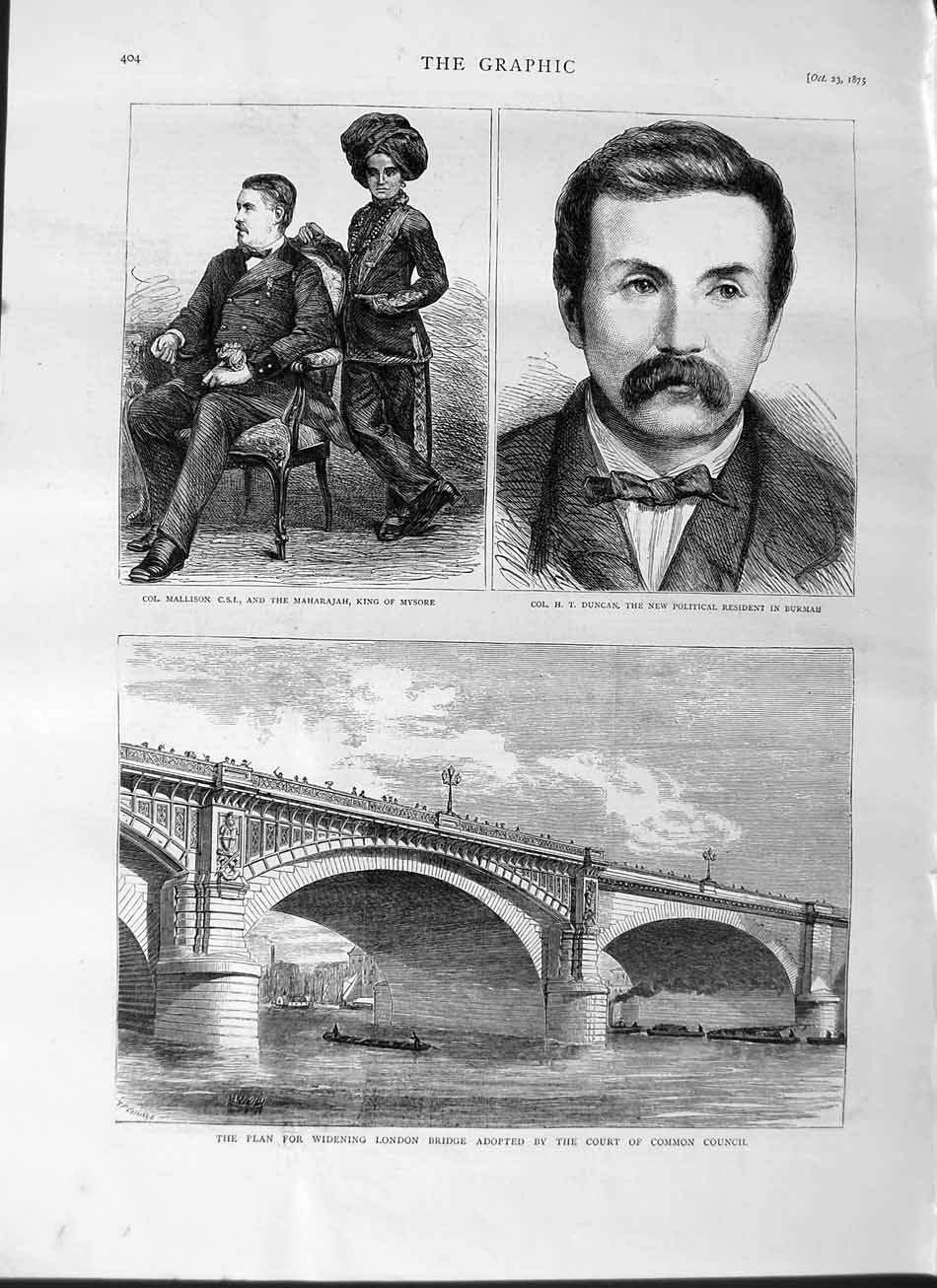 [Print 1875 Mallison Duncan Maharajah Burmah London Bridge 404M112 Old Original]