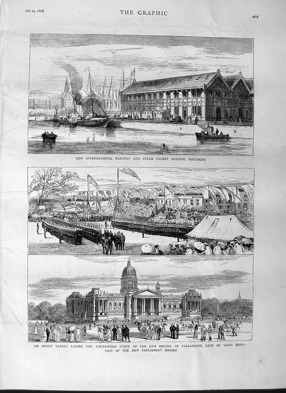[Print 1875 Railway Steam Station Boulogne Barkly Cape Hope 405M112 Old Original]