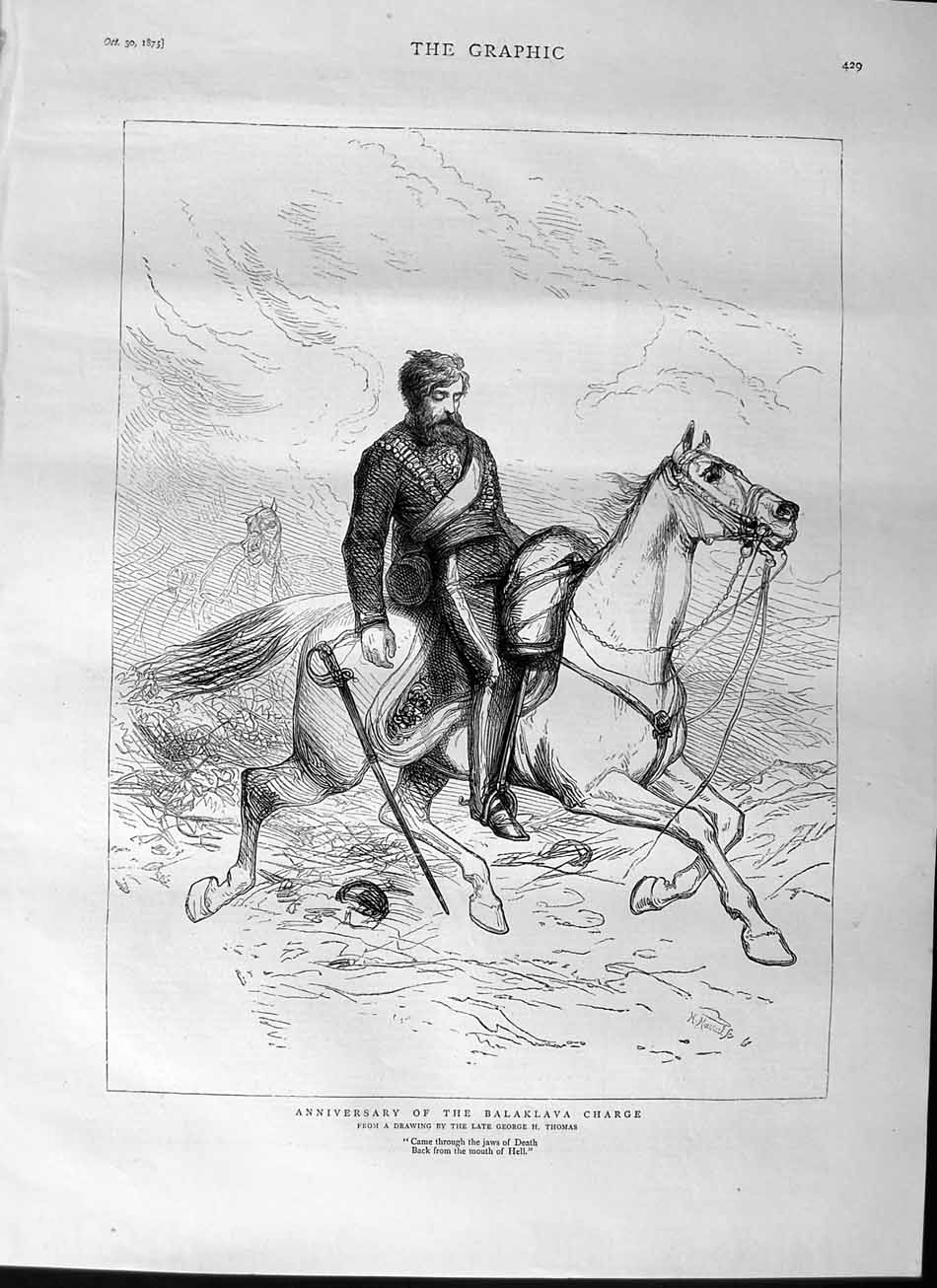 [Print 1875 Anniversary Balaklava Charge Soldier Horse 429M112 Old Original]