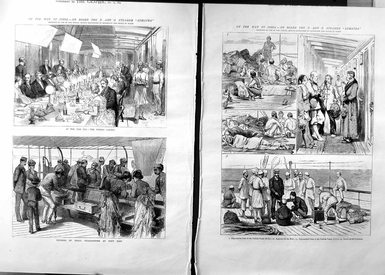 [Print 1875 Prince Wales Ship Red Sea Dining Saloon Sumatra 518Tm112 Old Original]