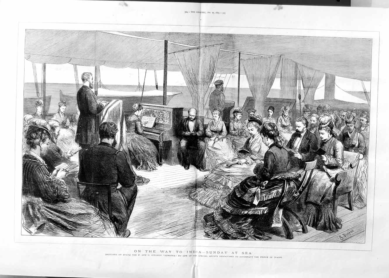 [Print 1875 P & O Steamer Ship Sumatra Music Service People 523Tm112 Old Original]