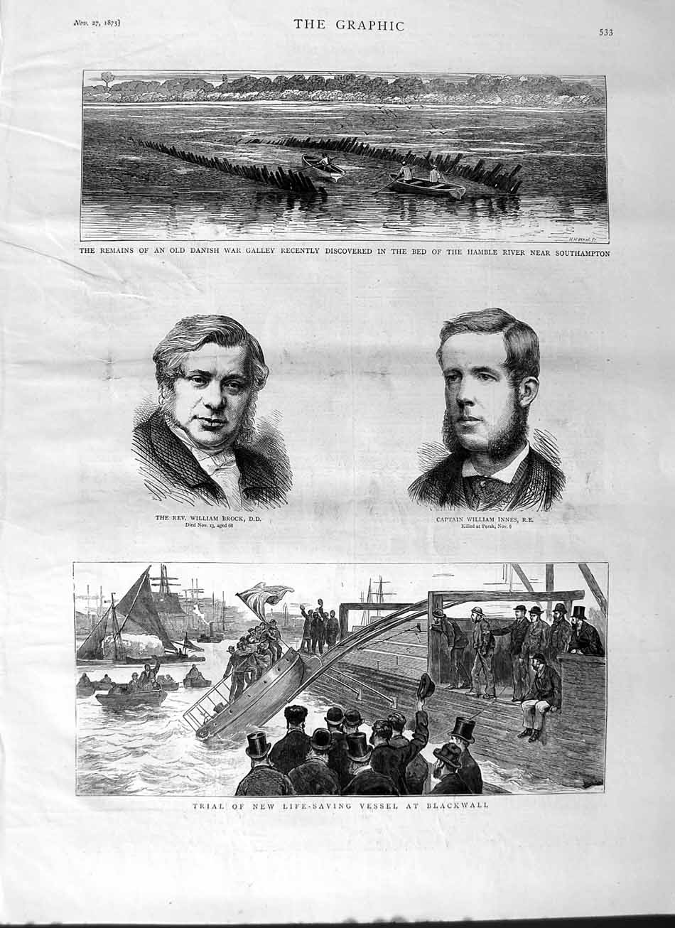 [Print 1875 William Brock Innes Life Saving Boats Blackwall 533M112 Old Original]