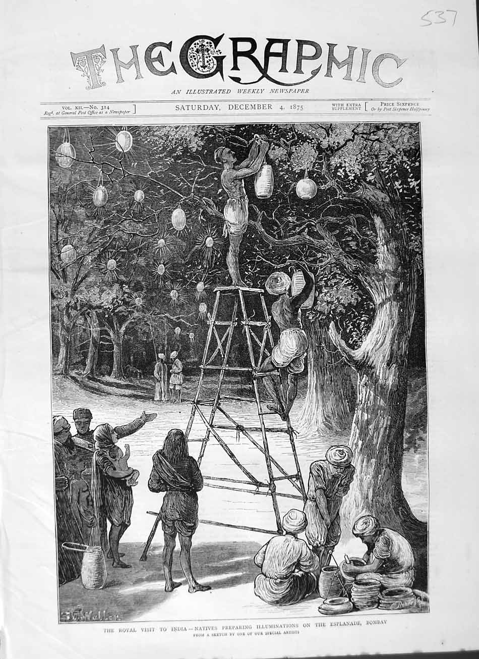 [Print 1875 Royal Visit India Natives Esplanade Bombay Lights 537M112 Old Original]