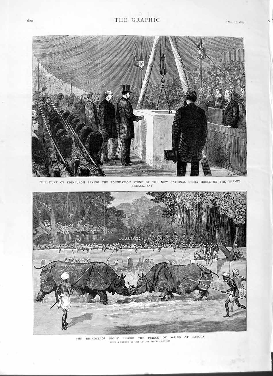 [Print 1875 Duke Edinburgh Opera House London Rhinoceros 620M112 Old Original]