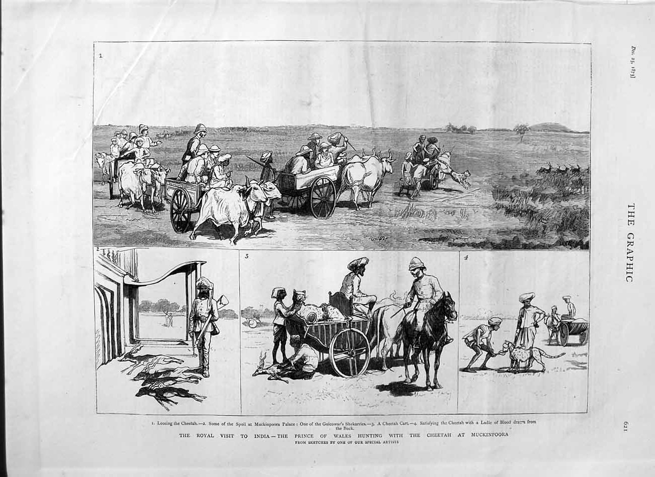 [Print 1875 Prince Wales India Hunting Cheetah Muckinpoora 621M112 Old Original]