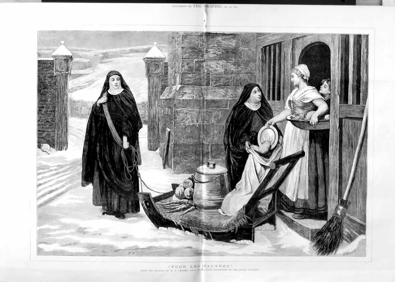 [Print 1875 Yeames Royal Academy Nuns Snow Sledge Food House 622Tm112 Old Original]