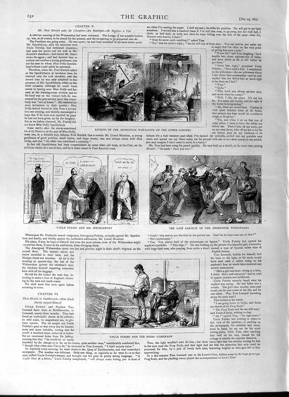 [Print 1875 Uncle Fubsby Specklebury Booby Fisherman Comedy 632M112 Old Original]
