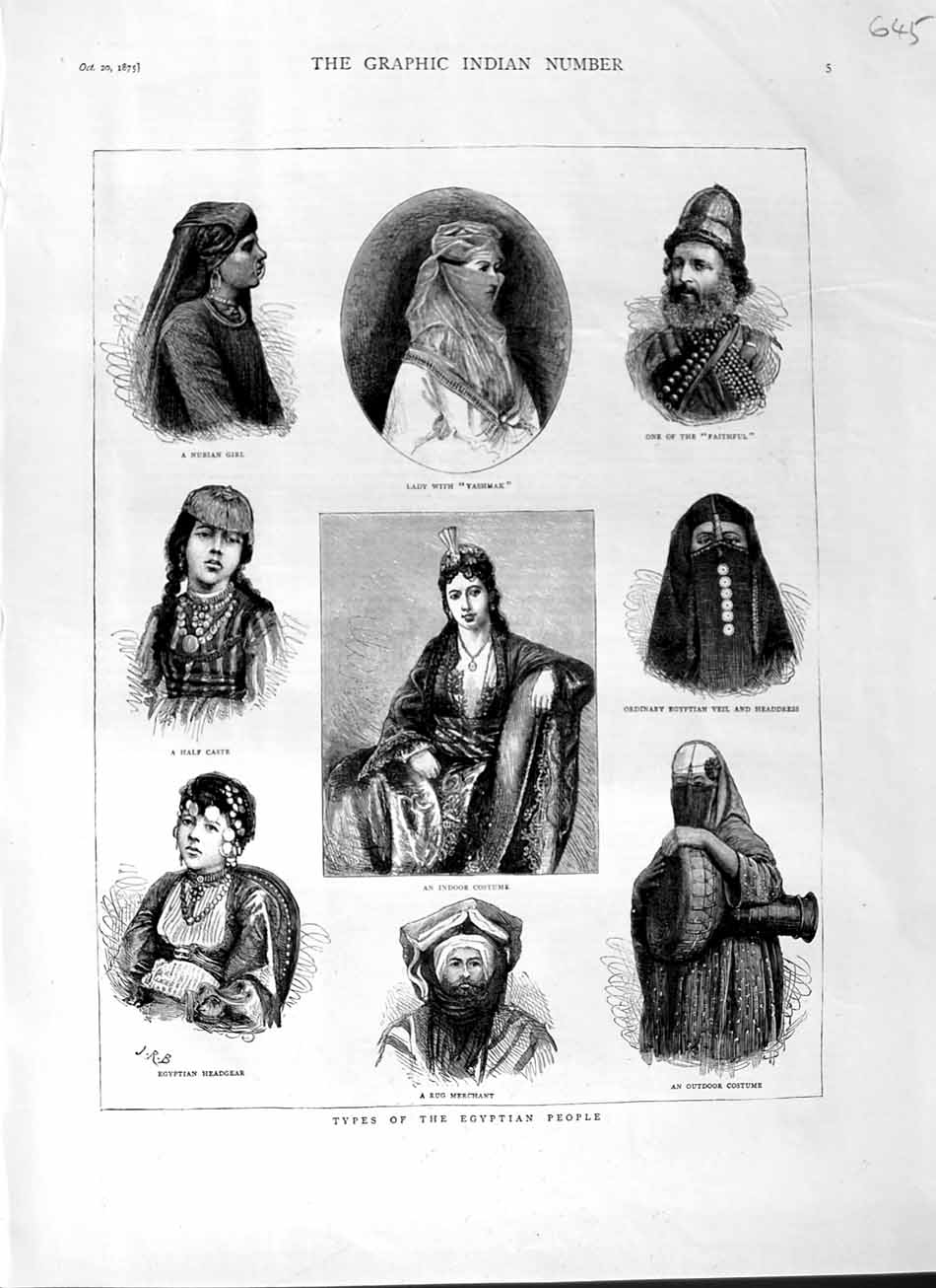 [Print 1875 Egyptian People Bubian Rug Merchant Headgear Veil 645M112 Old Original]