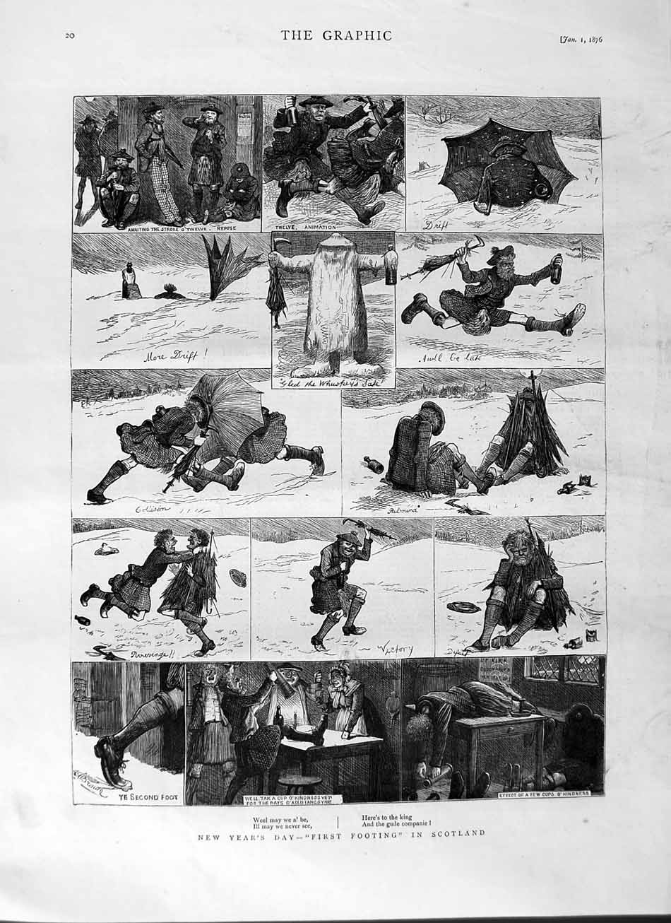 [Print 1876 New Years Day First Footing Scotland Snow Winter 020M113 Old Original]