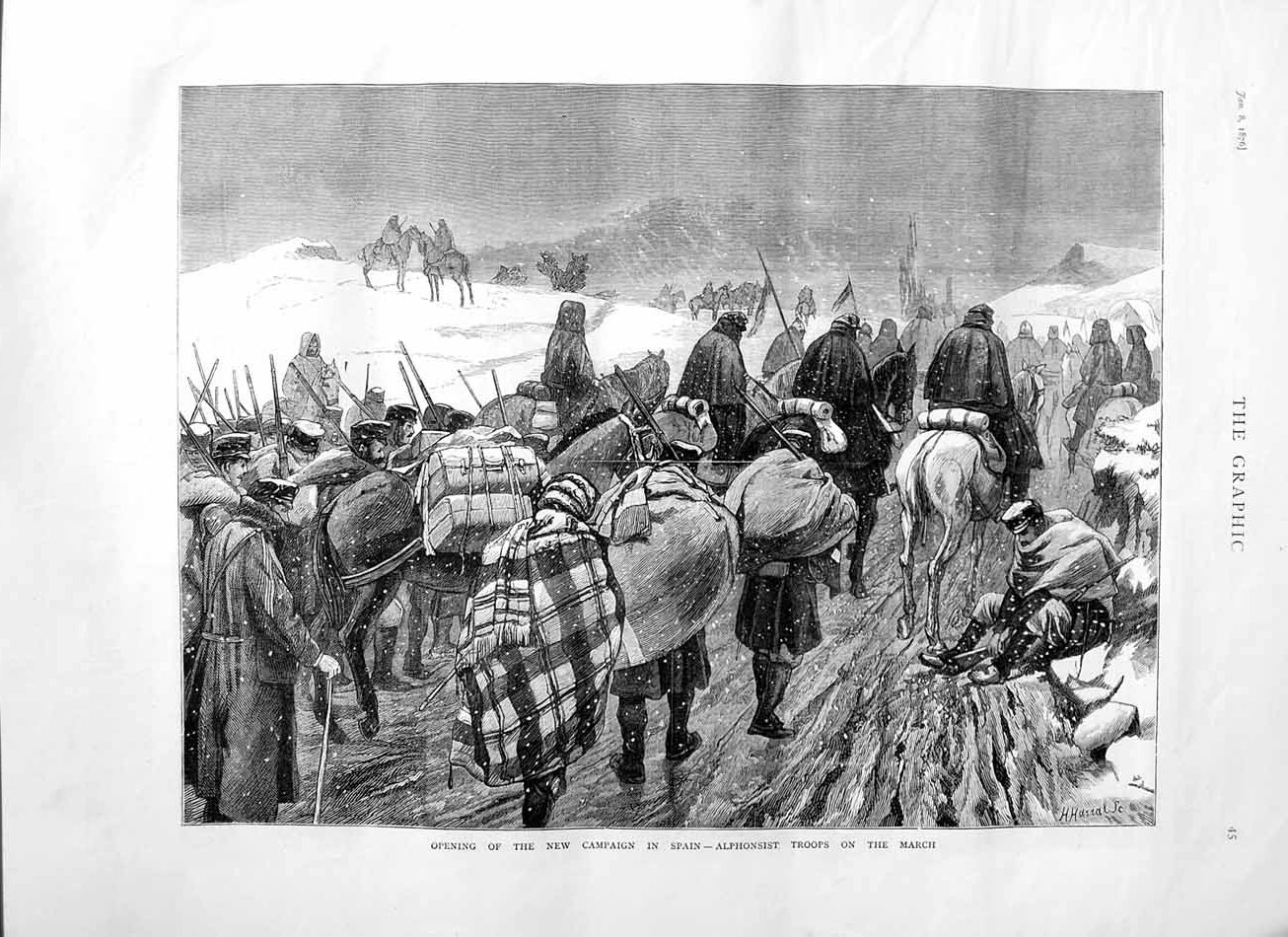 [Print 1876 Alphonsist Troops Marching New Campaign Spain 045M113 Old Original]