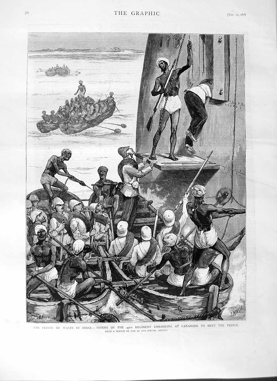 [Print 1876 Prince Wales India Troops Embankment Cananore 056M113 Old Original]