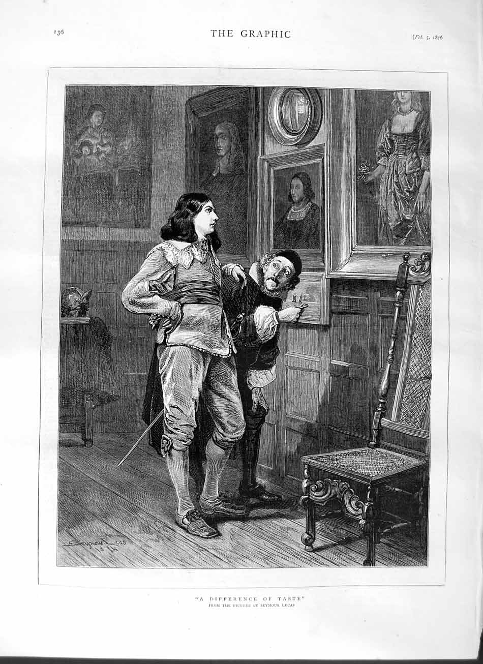 [Print 1876 Seymour Lucas Art Men Paintings 136M113 Old Original]