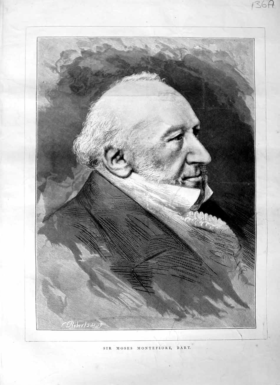 [Print 1876 Portrait Sir Moses Montefiore Bart Man Old Original]