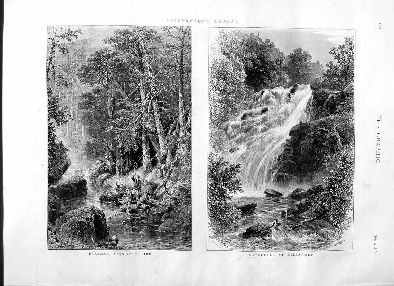 [Print 1876 Braemar Aberdeenshire Waterfall Killarney Scotland 140M113 Old Original]