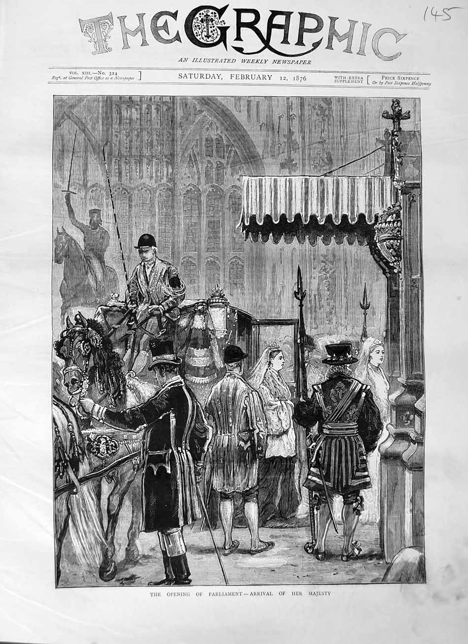 [Print 1876 Opening Parliament Arrival Queen Horses Carriage 145M113 Old Original]