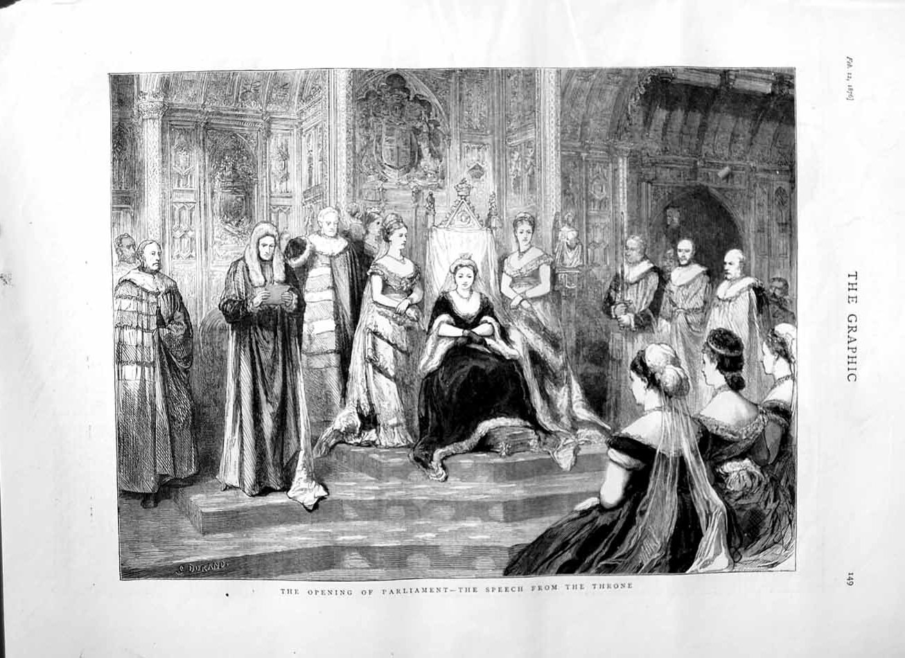 [Print 1876 Opening Parliament Queen Speech Throne Royalty 149M113 Old Original]