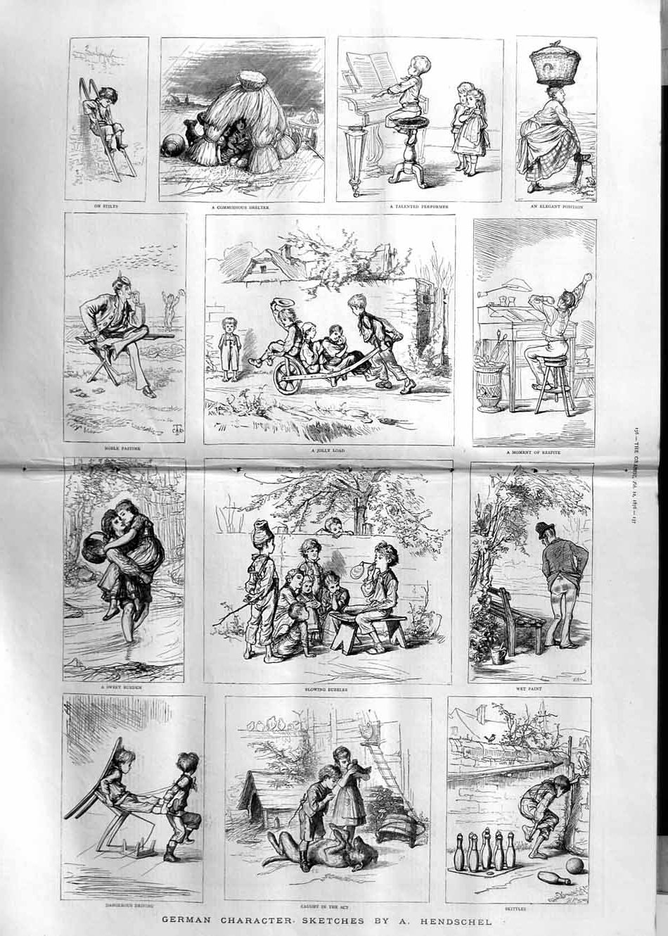 [Print 1876 German Sketches Hendschel Children People 155Tm113 Old Original]