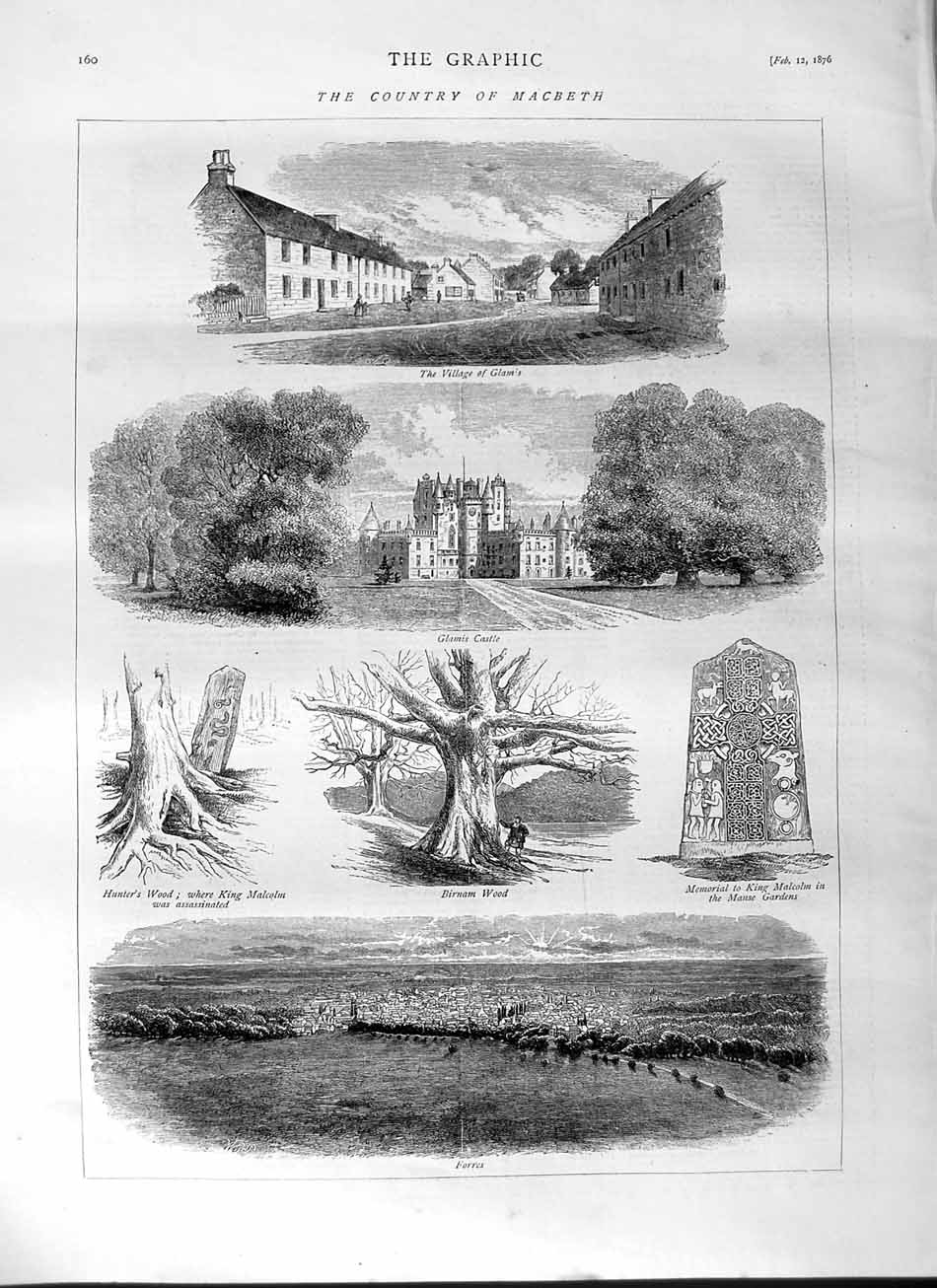 [Print 1876 Macbeath Glams Forres Glamis Castle Hunter'S Wood 160M113 Old Original]