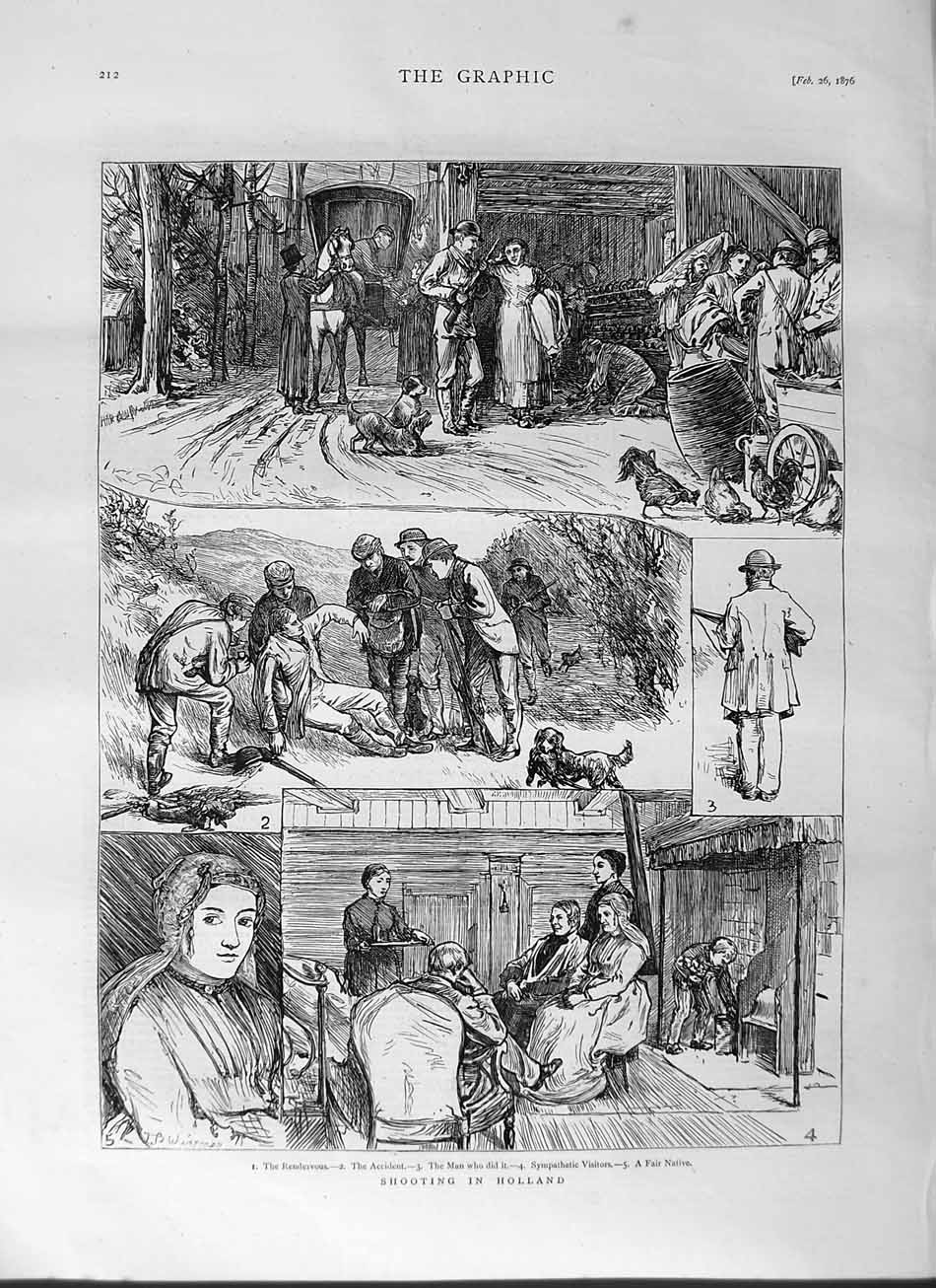 [Print 1876 Hunting Shooting Holland Sport Horses Chickens 212M113 Old Original]