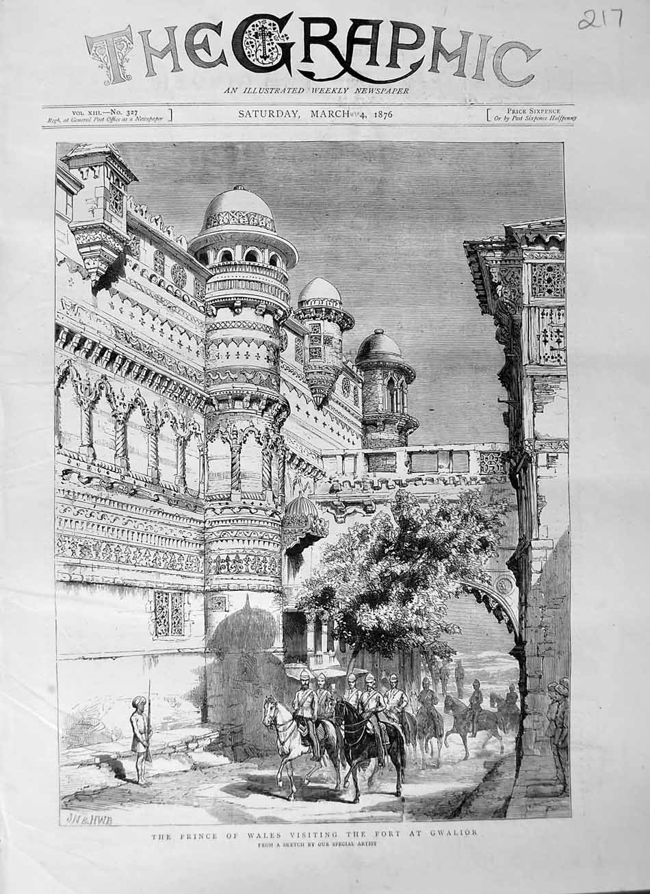 [Print 1876 Prince Wales Visiting Fort Gwalior Soldiers Horses 217M113 Old Original]
