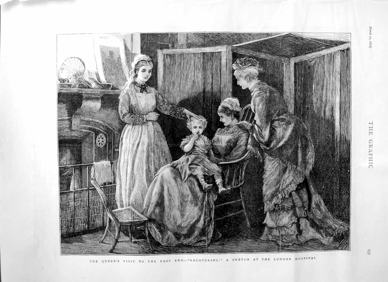 [Print 1876 Queen East End London Hospital Nurse Little Girl 257M113 Old Original]