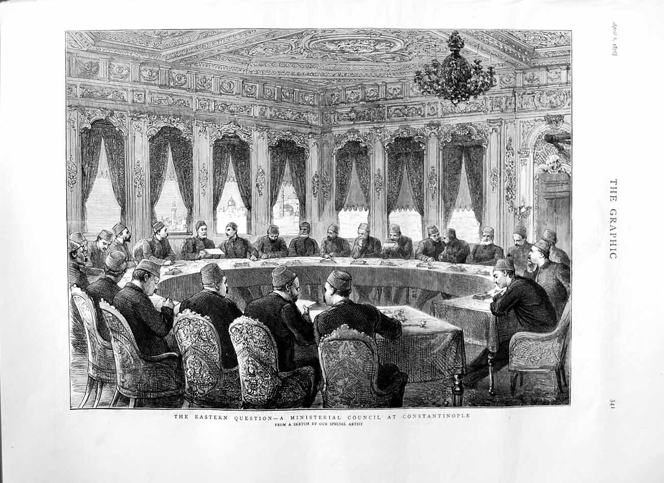 [Print 1876 Ministerial Council Constantinople Men Meeting 341M113 Old Original]