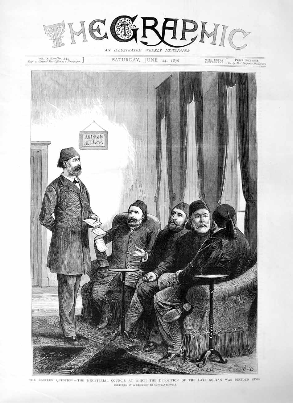 [Print 1876 Ministerial Council Sultan Eastern Question Men 609M113 Old Original]