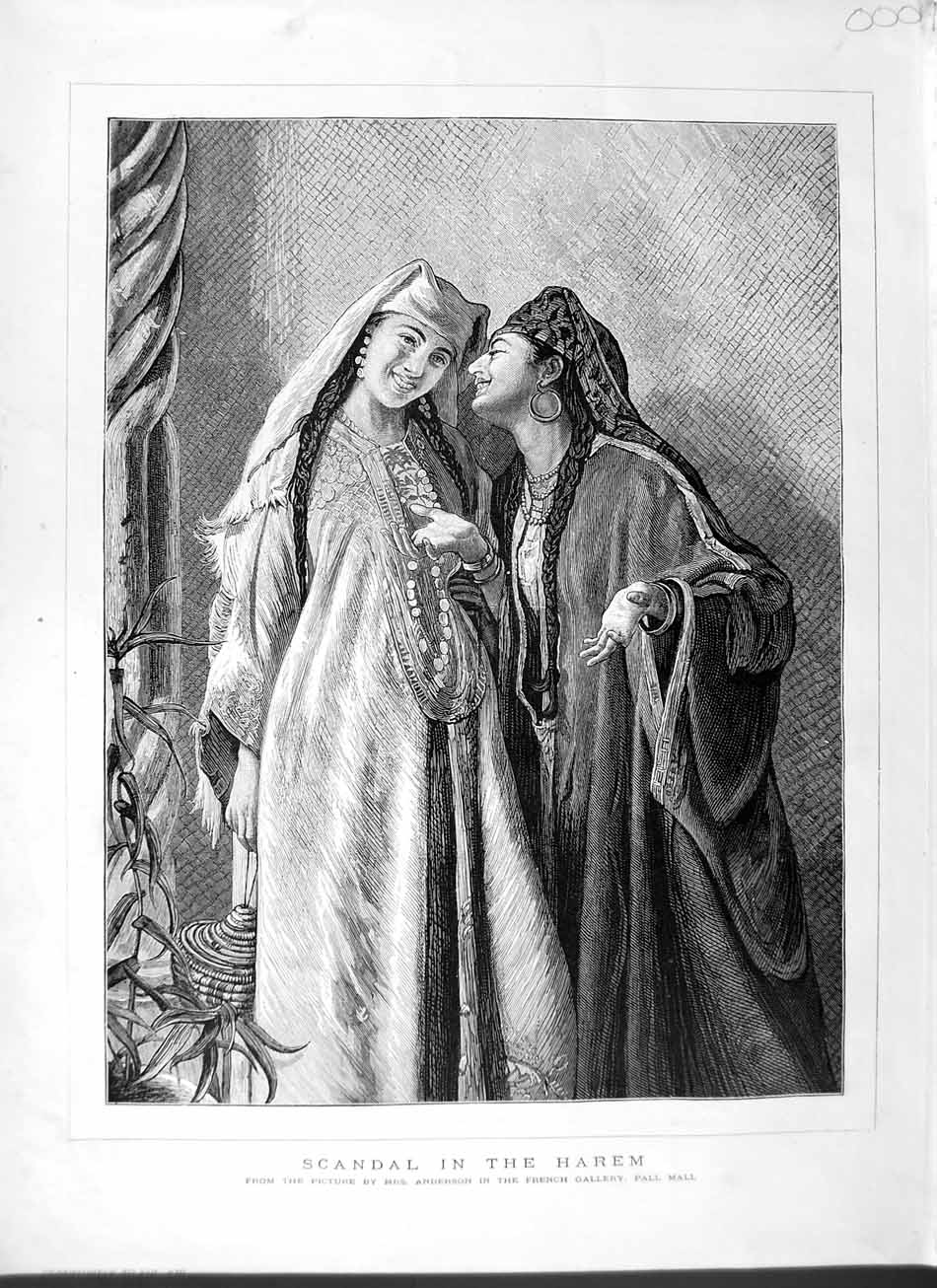 [Print 1877 Ladies Scandal Harem Anderson Pall Mall Gallery 000M115 Old Original]