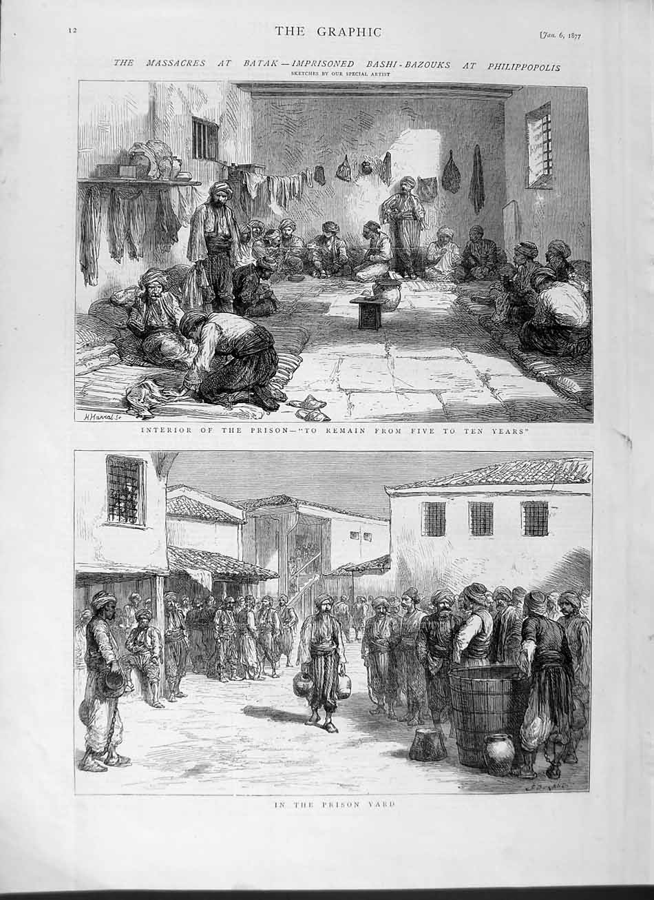 [Print 1877 Massacres Batak Prisoners Philippopolis Prison 012M115 Old Original]