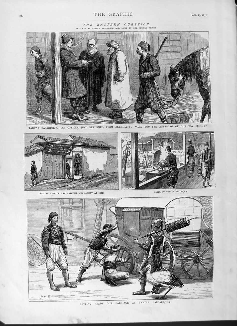 [Print 1877 Carriage Tartar Barsardjick Hosptal Sofia War 028M115 Old Original]