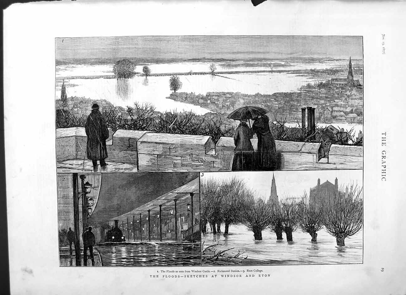 [Print 1877 Floods London Windsor Eton Richmond Station Eton 029M115 Old Original]