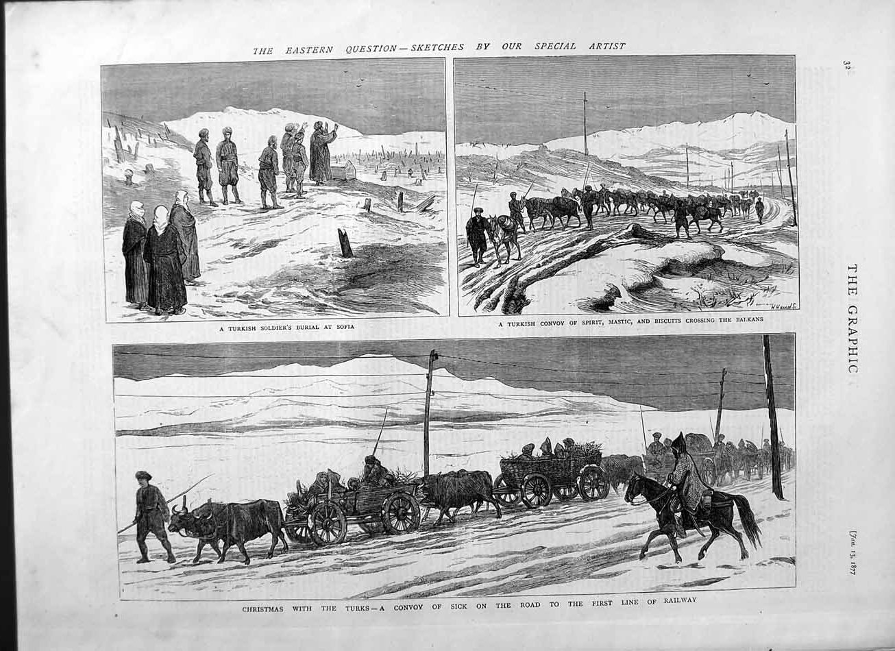 [Print 1877 Turkish Soldiers Burial Sofia Spirit Balkans War 032M115 Old Original]