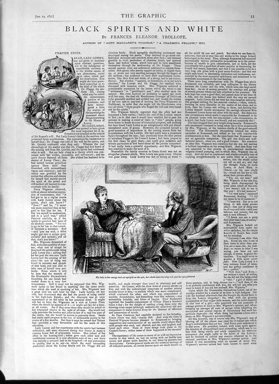 [Print 1877 Illustrations Story Black Spirit White Lady Man 033M115 Old Original]