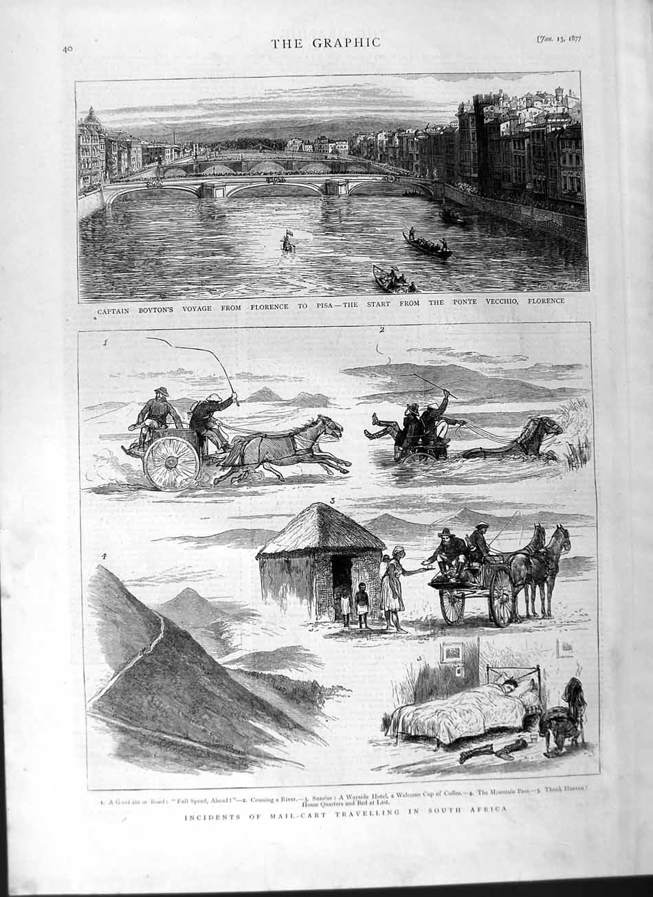 [Print 1877 Mail-Cart Travelling Africa Captain Boyton Pisa 040M115 Old Original]