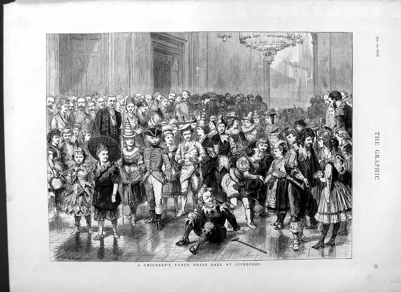 [Print 1877 Childrens Fancy Dress Ball Liverpool England 053M115 Old Original]