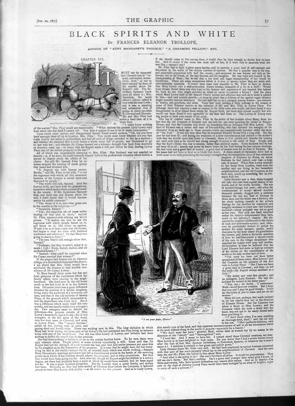 [Print 1877 Illustrations Black White Spirits Romance Man Lady 057M115 Old Original]