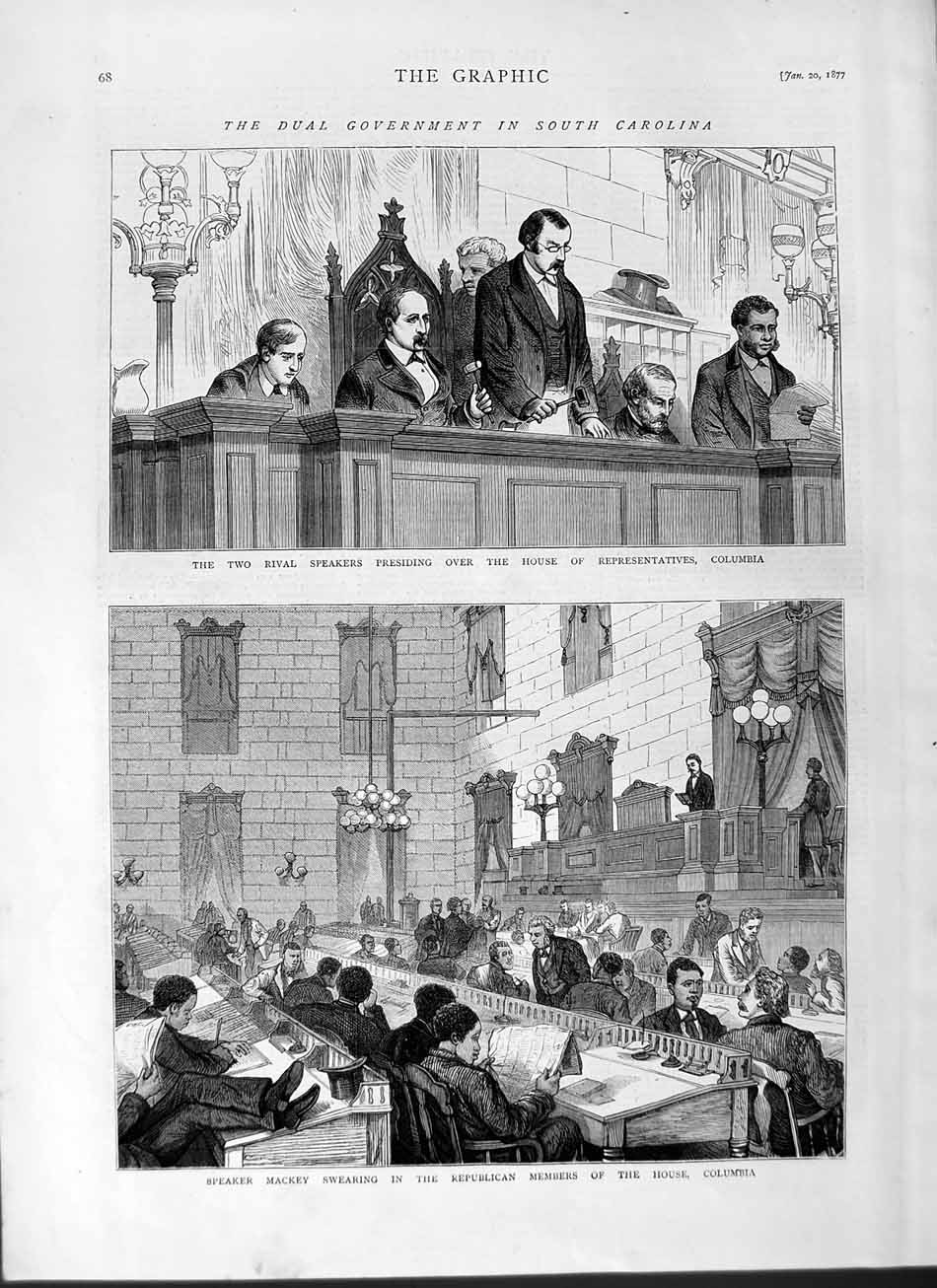 [Print 1877 Dual Government Columbia Mackey Republican House 068M115 Old Original]