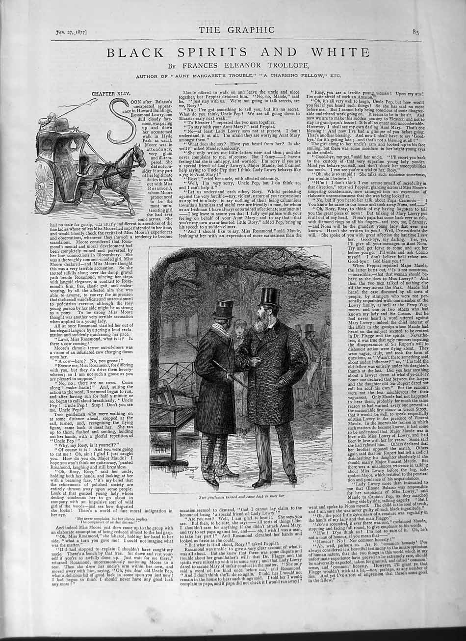 [Print 1877 Illustrations Black Spirits White Men Horse Cart 085M115 Old Original]