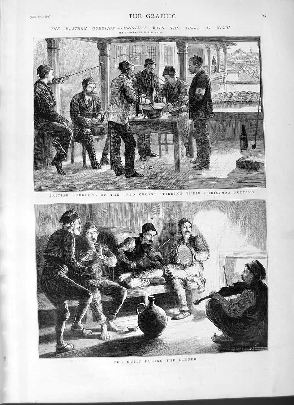 [Print 1877 War Turks Army Nisch Red Cross British Surgeons 093M115 Old Original]