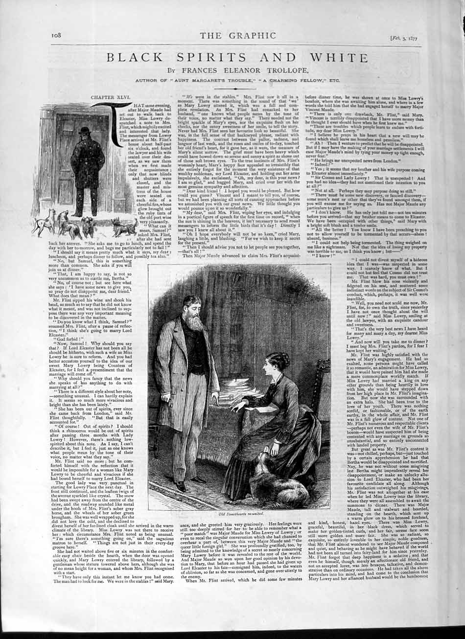 [Print 1877 Illustrations Story Black White Romance Man Lady 108M115 Old Original]