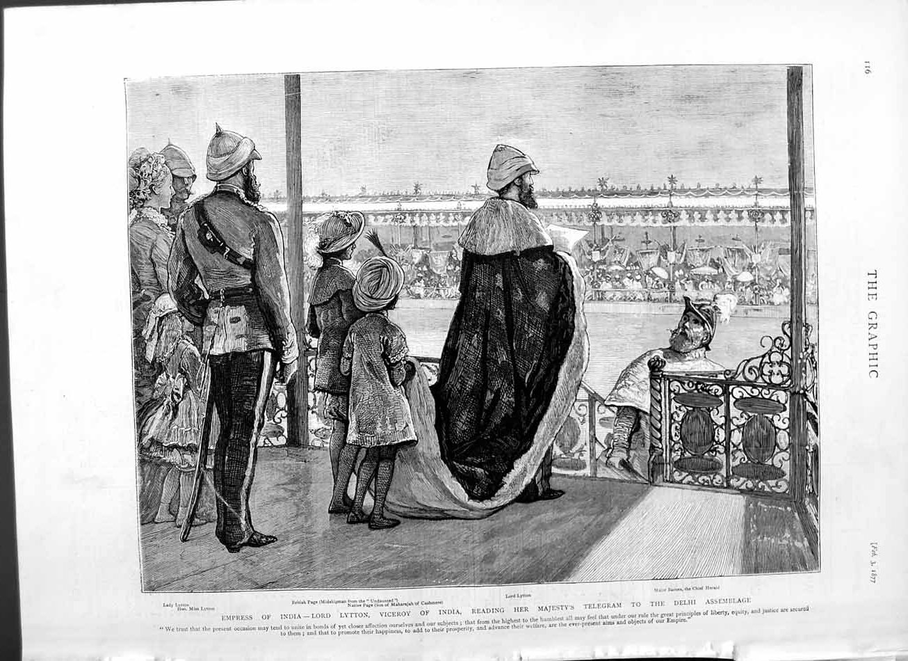 [Print 1877 Empress India Lord Lytton India Viceroy Delhi 116M115 Old Original]