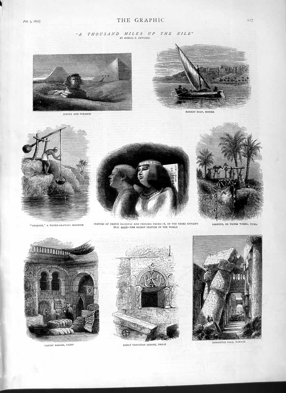 [Print 1877 Sphinx Pyramid Egypt Cairo Philae Shrine Nefer 117M115 Old Original]