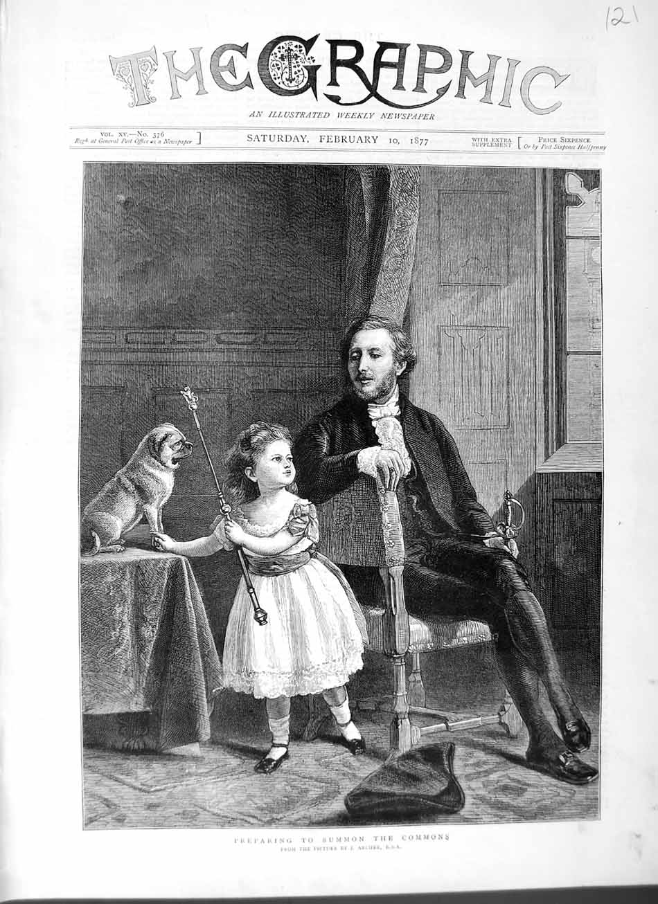 [Print 1877 Little Girl Puppy Dog Man Sitting Chair Fine Art 121M115 Old Original]