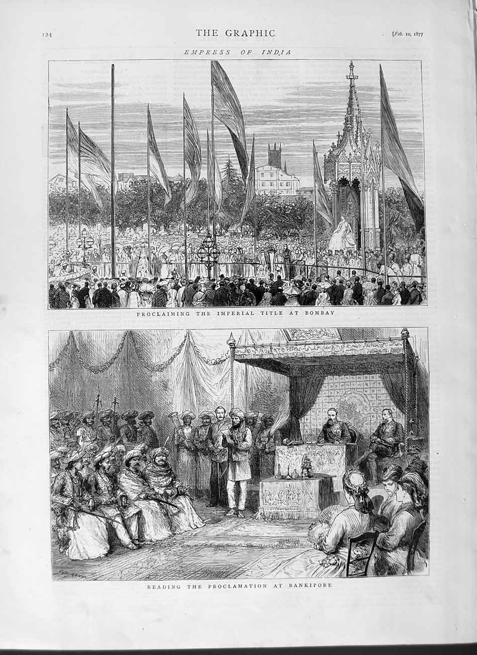 [Print 1877 Empress India Bombay Proclamation Bankipore 124M115 Old Original]