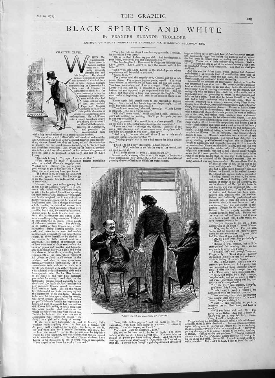 [Print 1877 Illustrations Story Black White Spirit Waitor Men 129M115 Old Original]