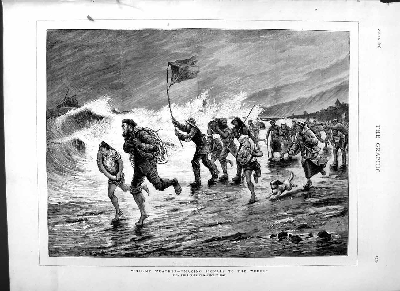 [Print 1877 Stormy Weather Scene Ship Wreck Signalling Beach 133M115 Old Original]