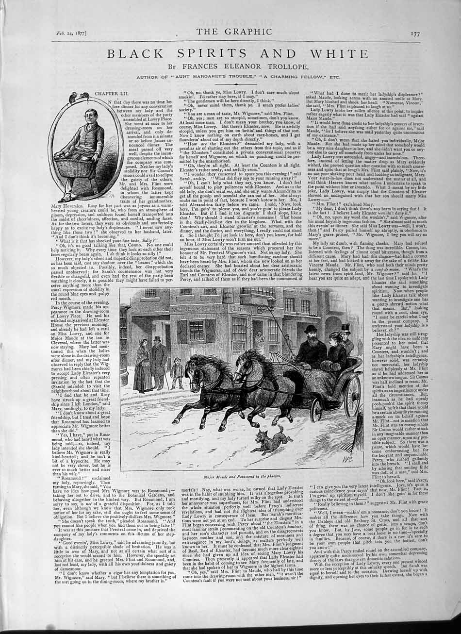 [Print 1877 Illustration Black Spirit White Major Maude Horses 177M115 Old Original]