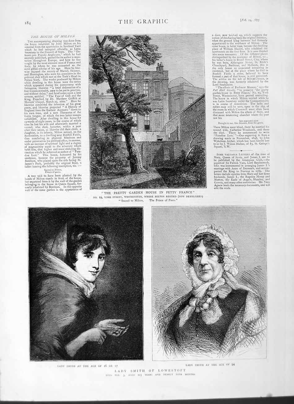 [Print 1877 Lady Smith Lowestoft Garden House Petty France 184M115 Old Original]